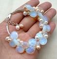 Impresionante hechos a mano blanco rosa pearl & moonstone pulsera