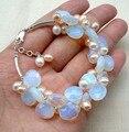 Stunning handmade white pink pearl & moonstone bracelet