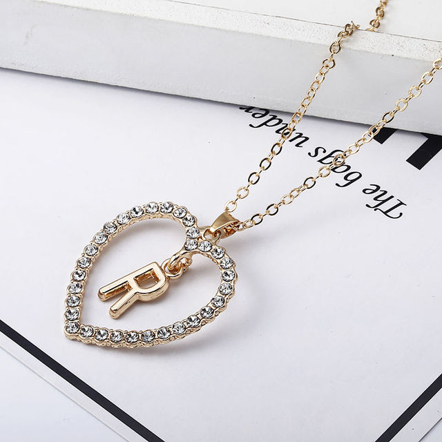 Romantic Love Pendant Necklace For Girls Women Rhinestone Initial Letter Necklace Alphabet Gold Collars Trendy New Charms Kolye 2