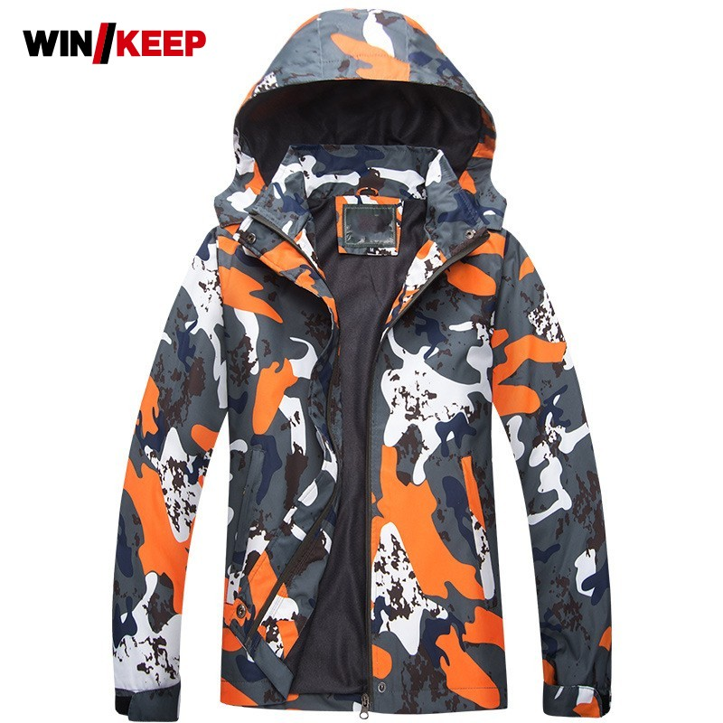 Winter Outdoor Lovers Camouflage Printed Snowboarding Jacket Mens Windproof Hoodie Hiking Jacket Women Sportswear Skiing Coats