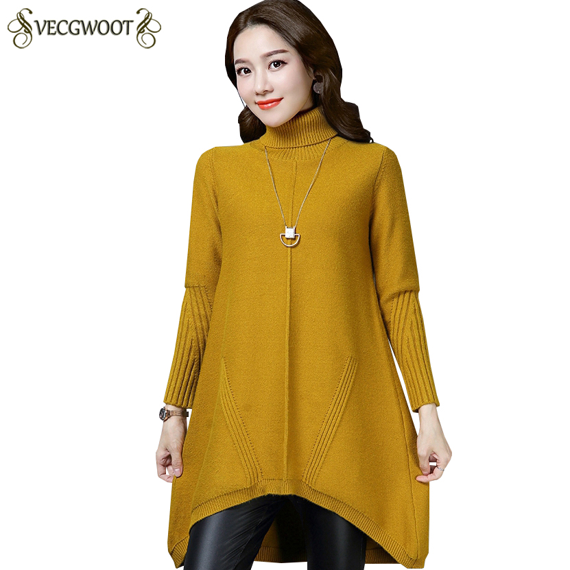 New Autumn Winter Knitted Inner wear Sweater Women Pullover High collar Sweater Women Large size Long Solid color Sweater S669