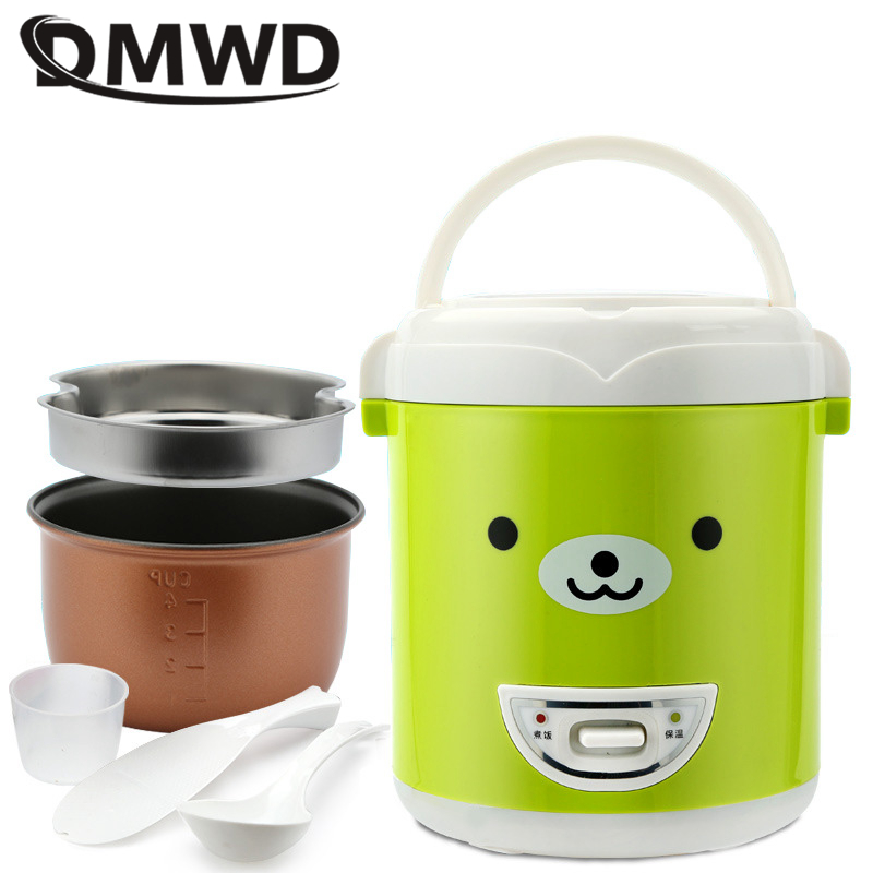 DMWD 1L Electric Mini Rice cooker non stick portable multicooker 2 layer steamer multifunction cooking pot insulation 220V|Rice Cookers| |  - title=