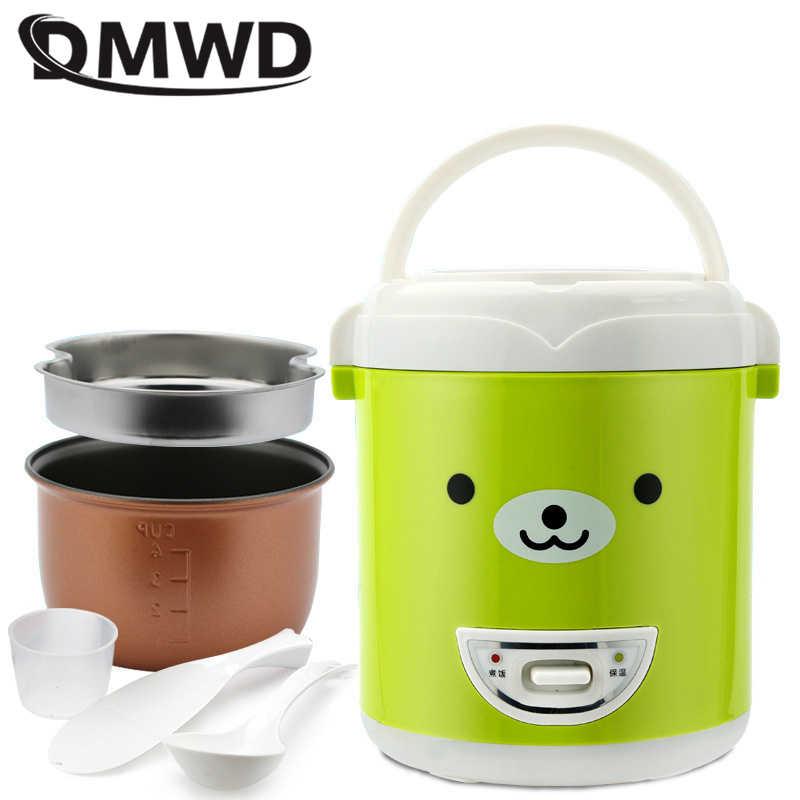 DMWD 1L الكهربائية موقد صغير لطهي الأرز غير عصا المحمولة multicooker 2 طبقة باخرة متعددة الوظائف الطبخ وعاء العزل 220V