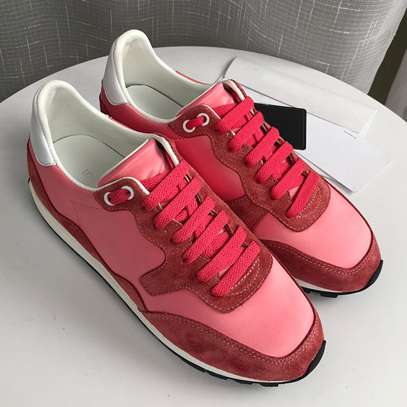 Sneakers De Rond Rose Réel Plat Plate Sport Non Chaussures Patchwork Dentelle forme Femme Bout 2019 Leathe slip Princesse Up ZPkuOTXi