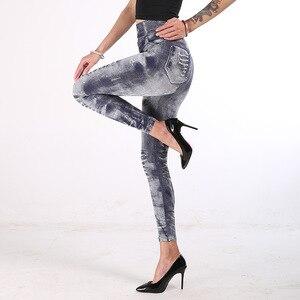Image 2 - 女性ハイウエストレギンスファッションプッシュアップジーンズ鉛筆パンツ薄型セクシーな偽デニムデニムファム服ドロップシップ