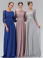 2017 Long A line Silver Gray Modest Chiffon Lace Bridesmaid Dresses With 3/4 Sleeves Formal Floor Length Wedding Party Dresses