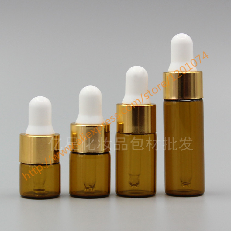 1ml/2ml/3ml/5ml brown/amber Glass Essential Oil Bottle With gold ring+white/black rubber lid.mini container,sample bottle-in Refillable Bottles from Beauty & Health    1