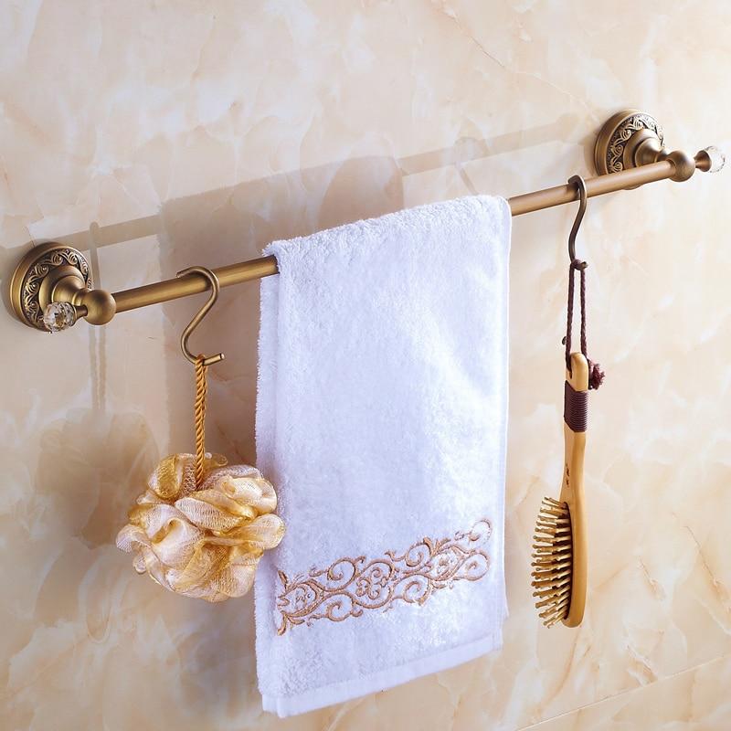 Antique European Style Bathroom Towel Rack Single Bar Copper Bathroom Accessories 60cm Crystal Bathroom Products With 2 Hooks clean and elegant bathroom towel bar serves a full european antique copper bathroom accessories 606r