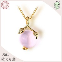 High Quality Gold Plated Natural Pink Ross Quartz Stone 925 Silver Cherry Design Pendant