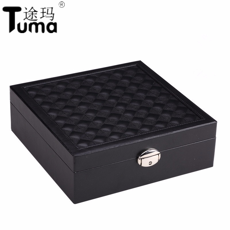 New Style Fashion Semi automatic High grade Leather Jewelry Box Jewelry Casket Princess Style Jewelry Case