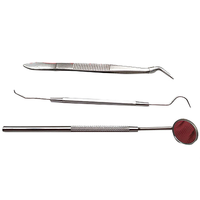 3pc/set Dental Mouth Mirror Stainless Steel Dental Dentist Prepared Tool Set Tooth Kit Instrument Tweezer Hoe Sickle Scale