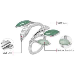 Image 5 - Lotus fun real 925 sterling silver anel aberto pedra natural design feito à mão jóias finas primavera no ar folhas anéis para mulher