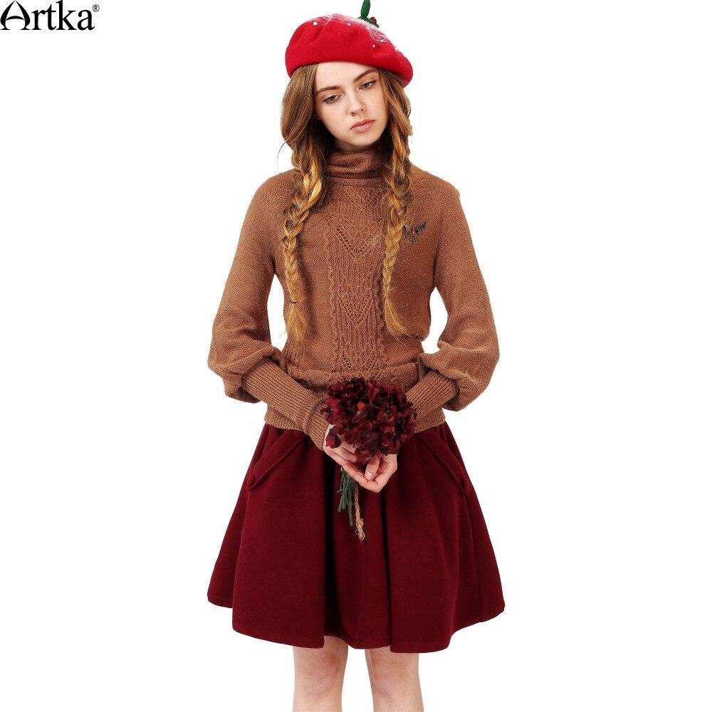 f1c0f21db173c ₩De ARTKA Femmes Automne New Casual Solide Couleur A-ligne Jupe ...