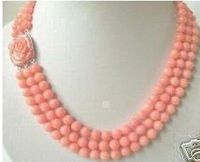 FREE SHIPPING>>>Rare 3 rows angel skin coral beads necklace