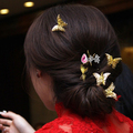 gold butterfly hairpins bride hair accessory accessories costume classical hair stick cheongsam marriage bridal hair ornaments