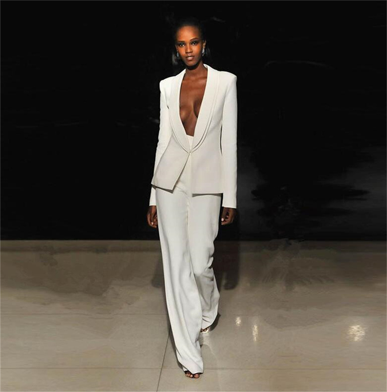 White Custom Made Women Pantsuits Work Pant Suits OL 2 PCS Sets Women Blazer(Jacket+Bell-bottomed Pants Suit)For Women Set Party