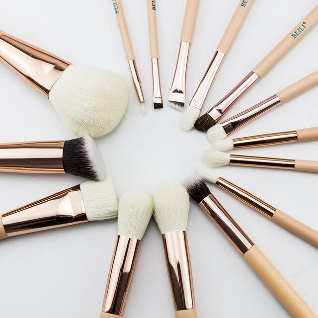 Бейли Розовый Золотой натурального козьего конский волос  для глаз для  контурирующая  лайнер набор кистей для макияжа