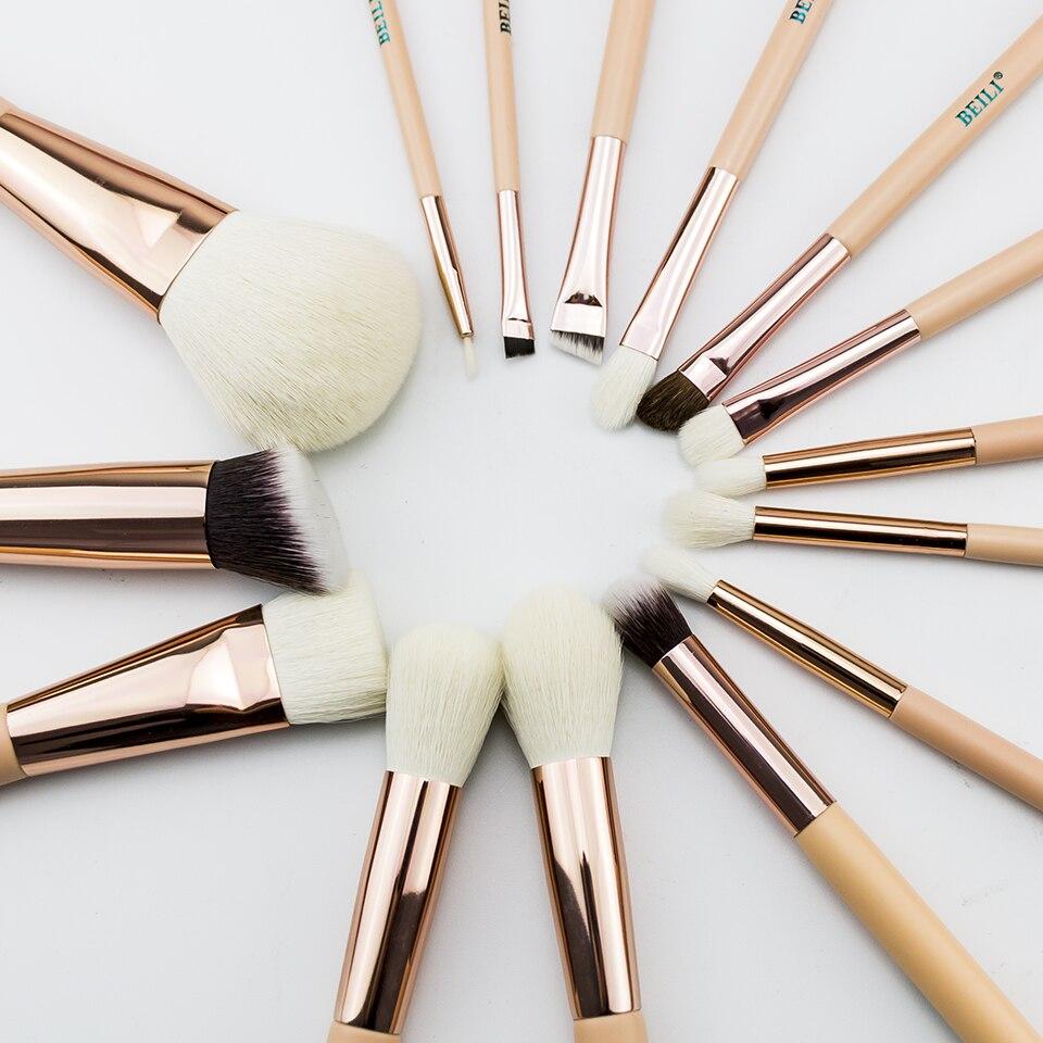 BEILI 15 Pcs Rosa Rose Gold Natürliche ziege Pony Haar Foundation erröten eye Blending Kontur Pulver Professionelle Make-Up pinsel set