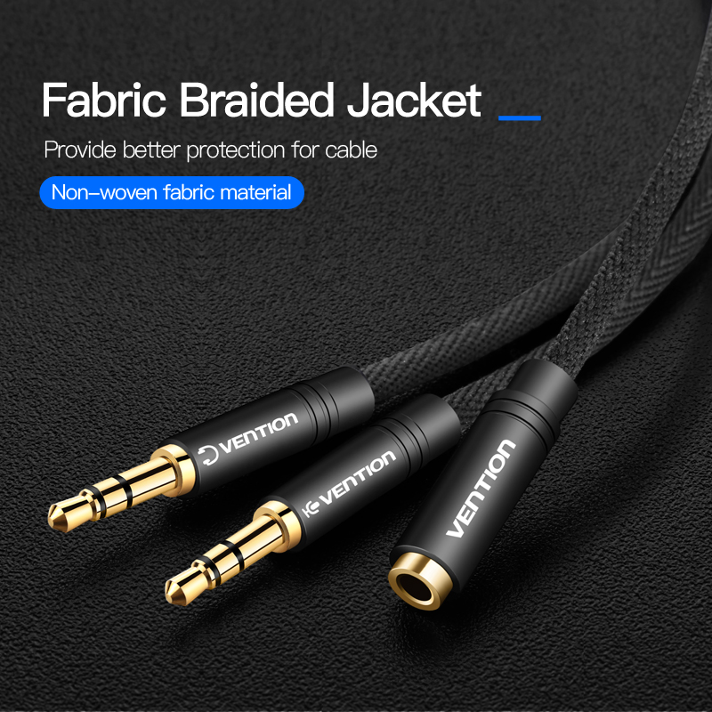 Vention Headphone Splitter for Computer 3.5mm Female to 2 Male 3.5mm Mic Audio Y Splitter Cable Headset Earphone to PC Adapter