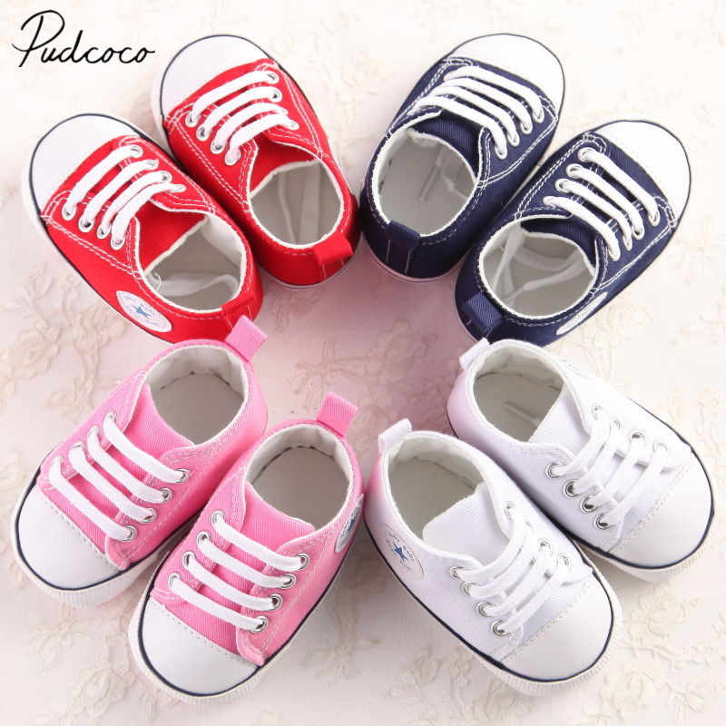 2018 Brand New Newborn Infant Baby Girls Boys Casual Stars Cribs Shoes Patchwork Lace Up Cotton Soft Sole First Walkers 0-18M