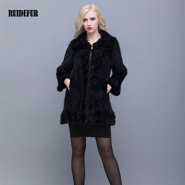 RUIDEFUR Real Mink Fur Coat Woman Winter Warm  Chinese Fur Coat Oversized Fur Collar With Natural Knitted Genuine Mink Jacket