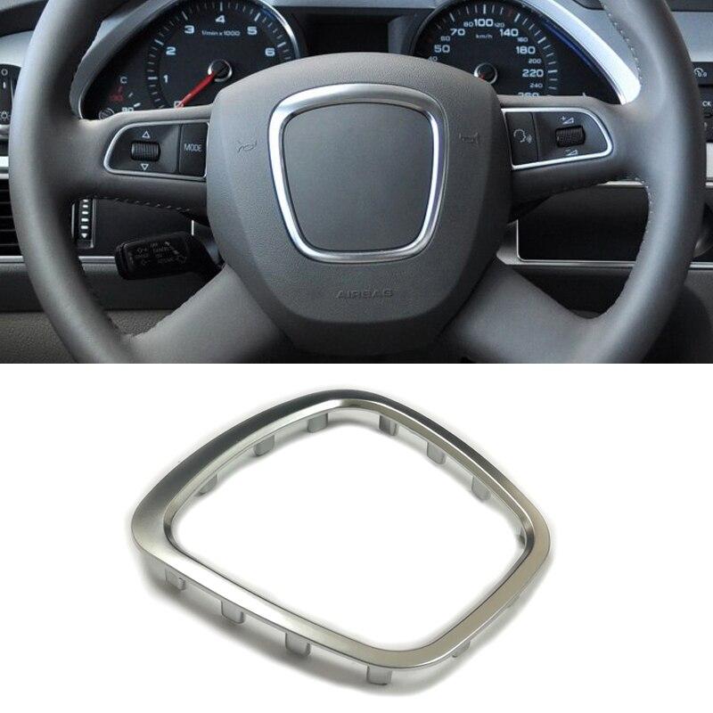 Abs volante do carro guarnição decoração centro emblema logotipo anel quadro adesivo acessórios para audi a3 a4 b6 b7 b8 a5 a6 c7 q5 q7
