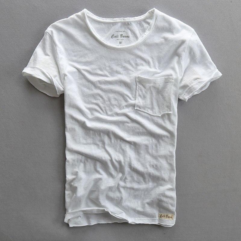 2017 men s summer o-neck shirt sleeve Slub cotton t-shirt with front pocket  white a656c5cb32e