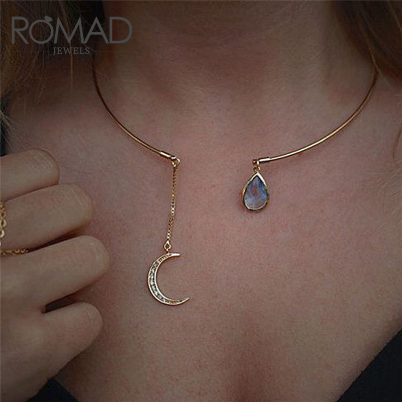 Romad Romantic Rainbow Moon Star Pendant Necklaces For Women Rose Gold Color Necklace Men Ethnic Crystal Choker Collier Femme R3