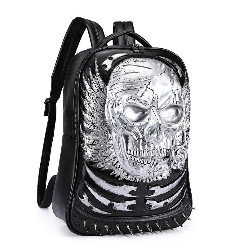 Rivet 3D Skull Skeleton Embossed Shoulder Bag Travel Backpack Restore Halloween Cool Dark Gothic Carving Style Backpack airsoft adults cs field game skeleton warrior skull paintball mask