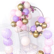 METABLE 100 Pcs 12/10 Inch Light Pink Balloons Purple Gold Metallic for Disney Princess Party
