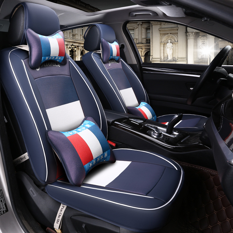 Style européen Van cuir siège de voiture coussin nouvelle impression US france drapeau de riz quatre saisons housse de coussin fournitures