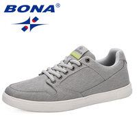 BONA 2019 New Arrival Men Flats Shoes Height Increasing Casual Shoes Men Sneakers Lace Up Student Shoes Chaussure Homme Trendy