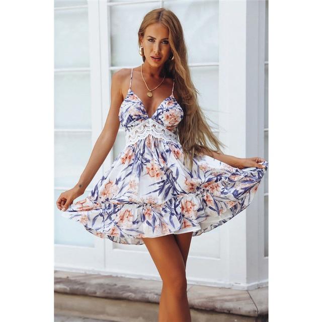 4ae2bd45 Moda vestido de encaje mujeres verano Sexy v-cuello Backless partido  elegante Floral Mini vestido