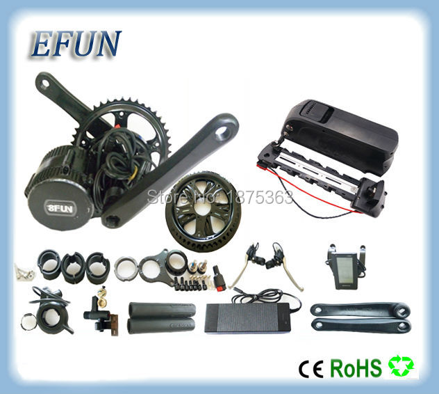 Electric bicycle kits 8Fun/Bafang BBS02 48V 500W mid drive motor kits with 48V 10.4Ah USB down tube battery for fat tire bike