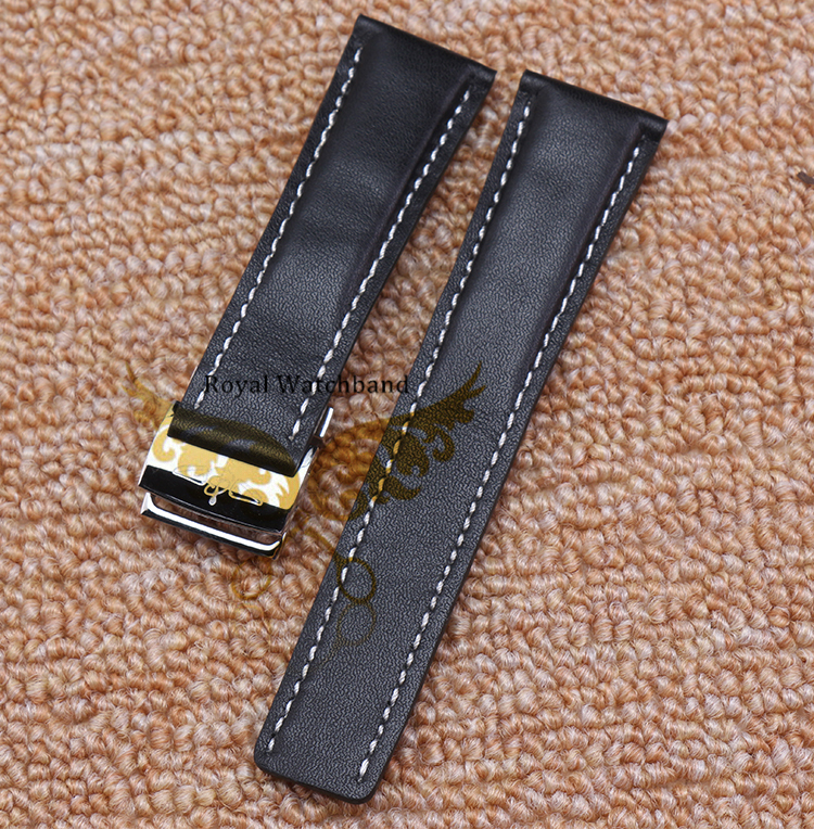 Watch Band 22mm 24mm Top Grade Black 100 Smooth Genuine Wrist band with Color Stitching and