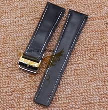Часы полоса 22 мм 24 мм высший сорт черный 100% гладкие натуральная лучезапястного сустава с цветной строчкой и Depolyant часы пряжка