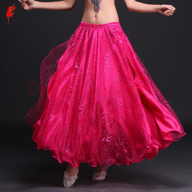 Luxury Belly Dance Skirt Women Satin Belly Dance Skirt Sexy Split Belly Dance Skirt For Girls Belly Dance Clothes 5 Colors