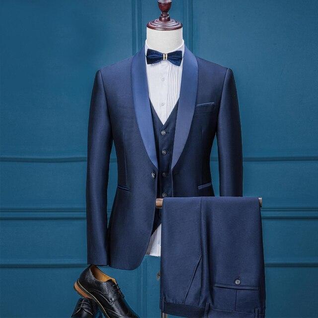4ce8307a0d3bd Lüks Marka Erkek Casual Düğün Smokin Blazer pantolon takım elbise ile  erkekler gençlik için 3 Parça