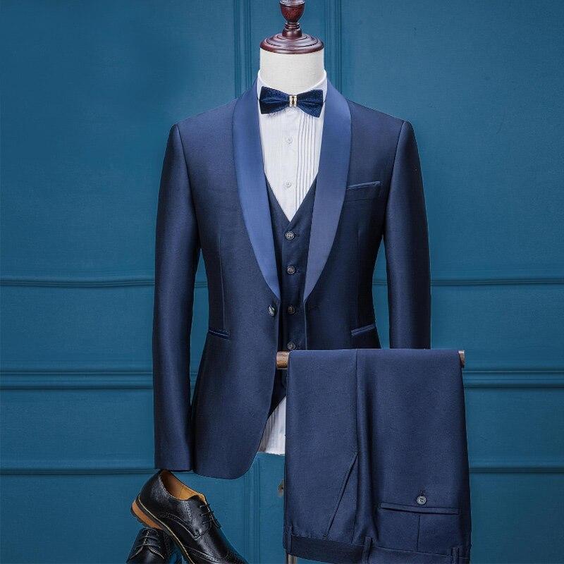 diseño hábil diseño innovador nuevas imágenes de € 101.93 25% de DESCUENTO Marca de lujo para Hombre Trajes Casual boda  esmoquin Blazer con pantalón traje hombres jóvenes 3 piezas chaqueta +  chaleco ...