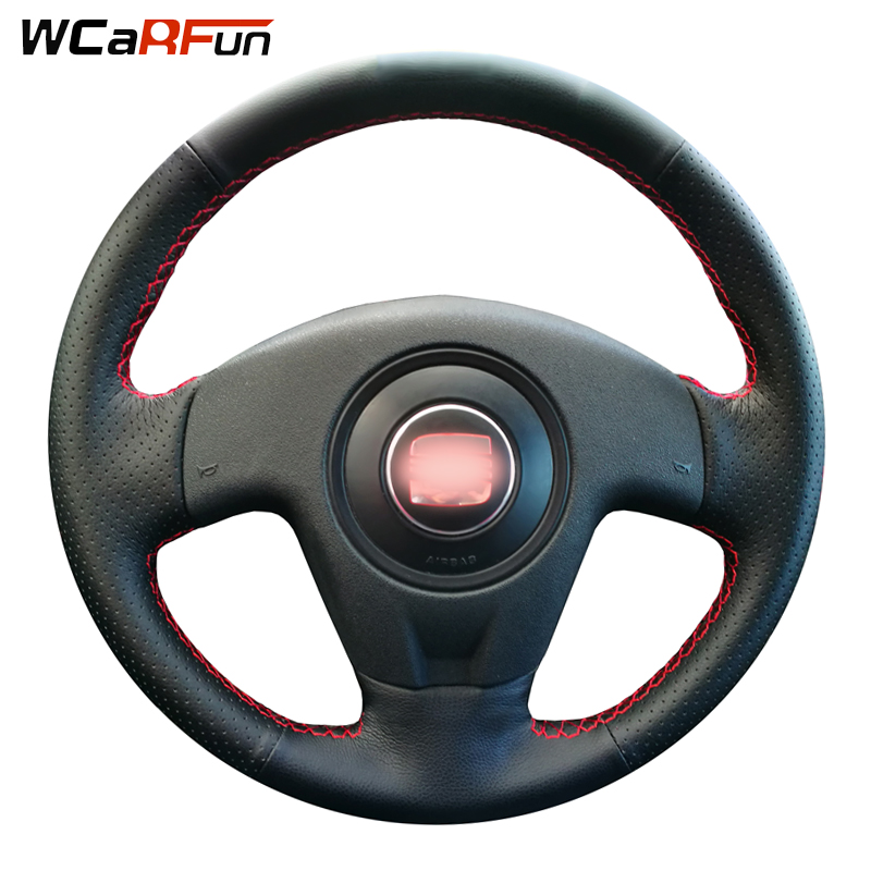 WCaRFun Hand-stitched Black Artificial Leather Car Steering Wheel Cover for <font><b>Seat</b></font> <font><b>Ibiza</b></font> 2004 <font><b>2006</b></font> image