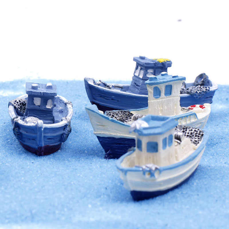 Yacht Ship Fishing Boat Miniature Fairy Garden Home Houses Decoration Mini Craft Micro Landscaping Decor DIY Accessories