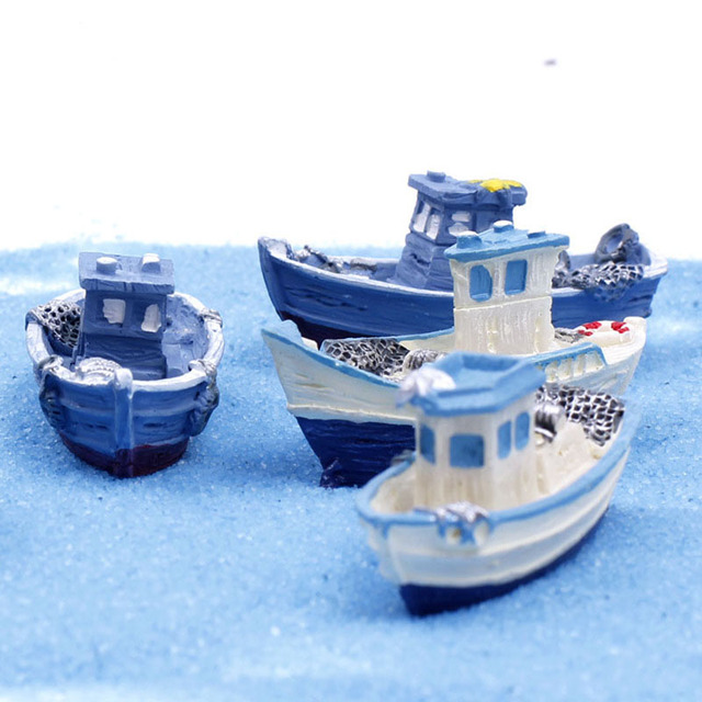 Yacht Ship Fishing Boat Miniature Fairy Garden Home Houses Decoration Mini Craft Micro Landscaping Decor DIY