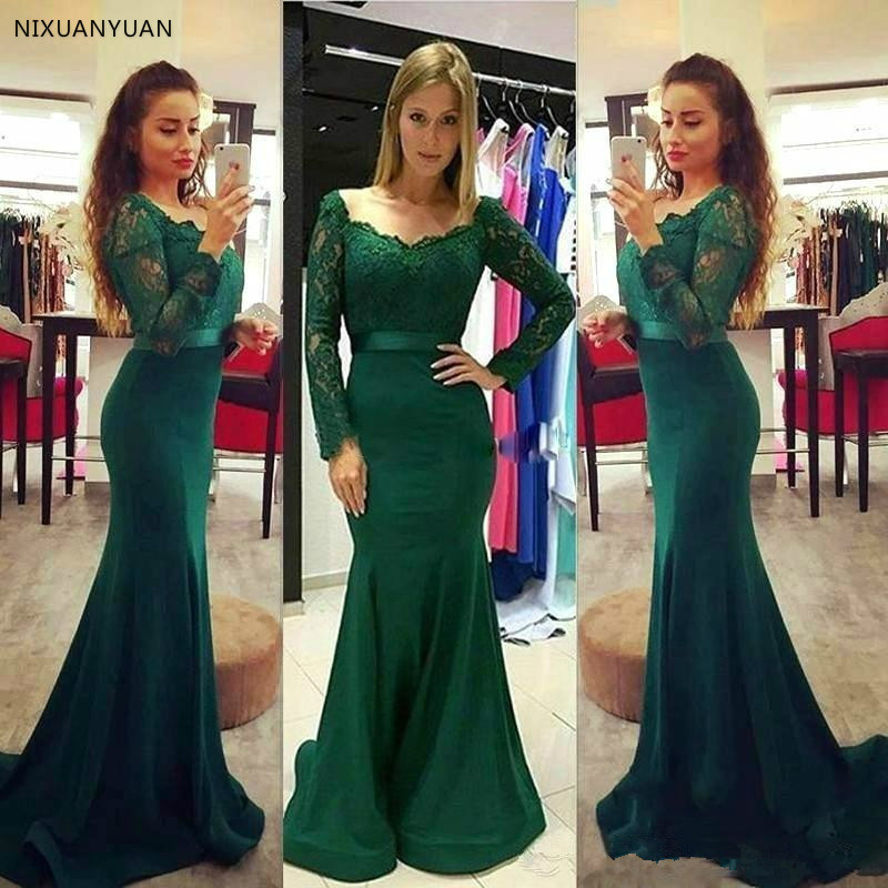Green   Evening     Dresses   2019 Mermaid V-neck Long Sleeves Satin Lace Long   Evening   Gown