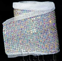 factory outlet 24 rows AB color Crystal rhinestone mesh trimming chain Silver base White fabric DIY sewing lace 5yards/roll