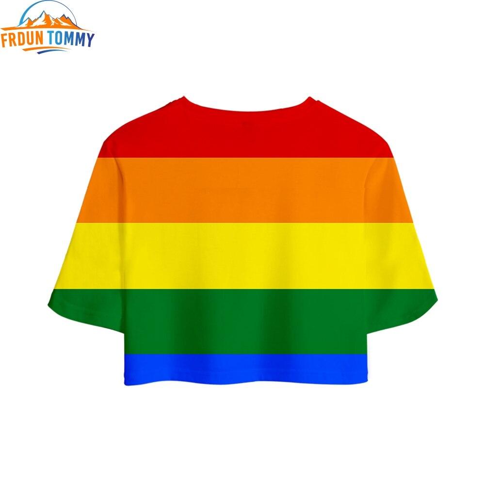 Gay Pride Lesbian Comfortable Crops Girl T-shirt LGBT New 3D Print Short T Shirt Women High Quality Sexy Sale Casual Clothes