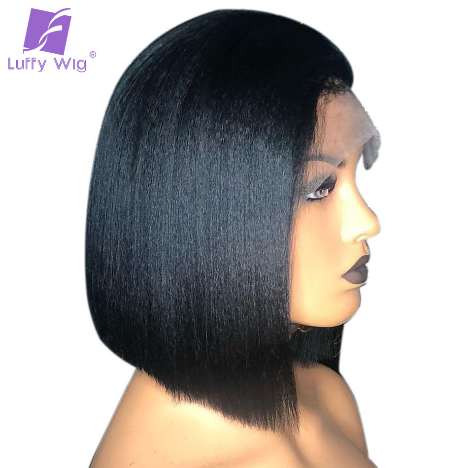 13x6 Yaki Straight Bob Lace front Wigs Pre Plucked Bleached Knots Remy Brazilian Short Human Hair