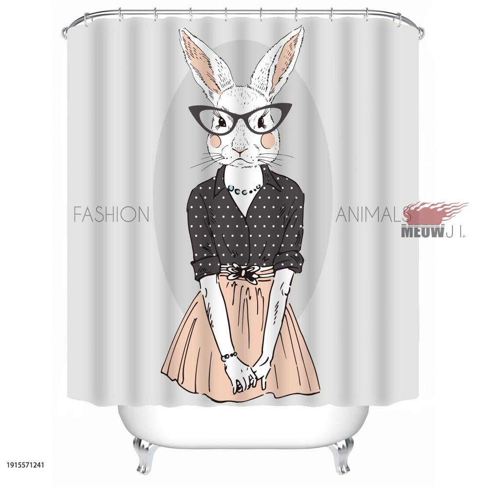 Bunny Rabbit Gorgeous Girl Cute Animal cortina de ducha personalizada - Bienes para el hogar - foto 3