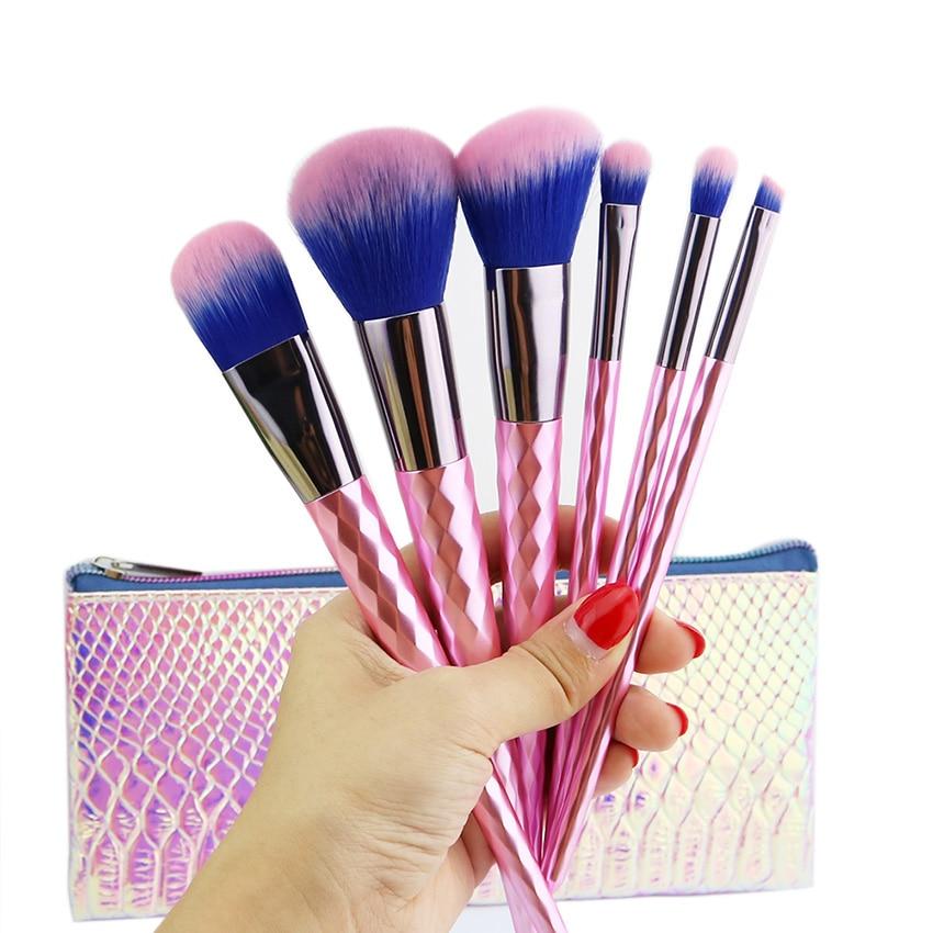 6 PCS Pink Diamond Makeup Brushes Set Luxury Powder Eyeshadow Brush Facial Foundation Cosmetic Mermaid Makeup Brush Kit
