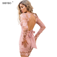SIBYBO Vintage Lace Blackless Sexy Bodycon Dress Autumn Winter Women Bandage Gothic Slim Christmas Party Evening