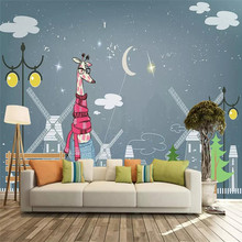 Professional production wallpaper mural cartoon giraffe children room background wall cloth decorative painting thickening